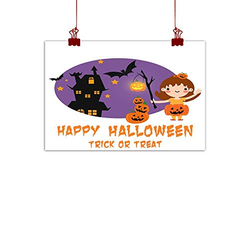 duommhome Wall Art Decor Poster Painting Halloween Background with Lovely Costumes Wall Art Decor Poster Painting 47