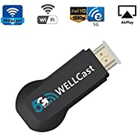 5G Plus WIFI Display Miracast Dongle, Kobwa HDMI Adapter Receiver 1080p Streaming Media Player Share Videos Images Docs Live Camera Musics from All iPhone iPad Andorid Devices to TV/Monitor/Projector