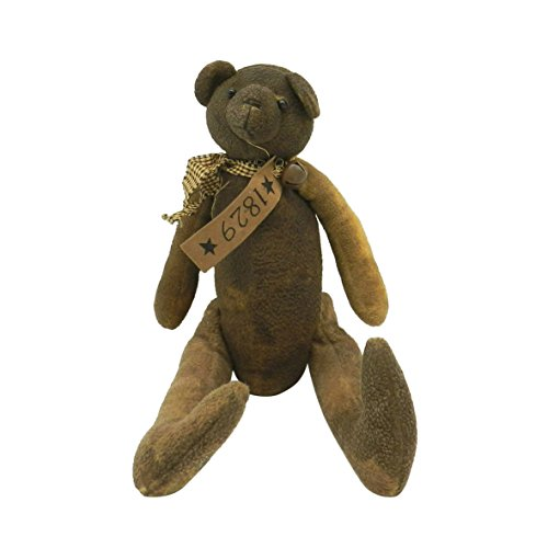 CVHOMEDECO. Antique Grungy Stuffed Bear Decoration with Rusty Bell Collar. 17 X 11 Inch from CVHOMEDECO.