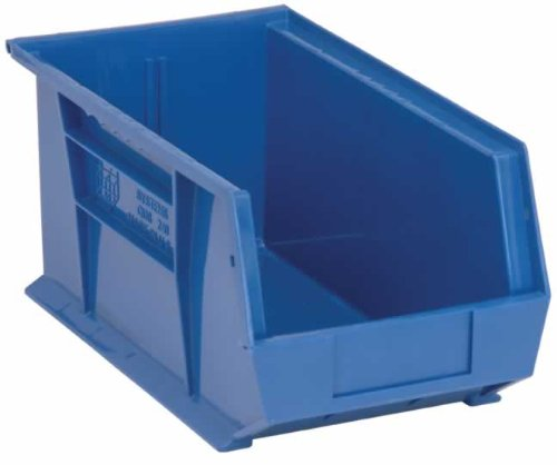 Quantum QUS240BL Blue Ultra Stack and Hang Bin, 14-3/4'' x 8-1/4'' x 7'' (Pack of 12)