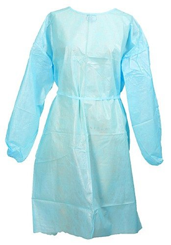 Medi-Pak Performance Blue Adult Fluid-Resistant Personal Protection Gowns One Size Fits Most, Polyethylene Coated Polypropylene - Case of 50 (Gowns Polyethylene Coated)
