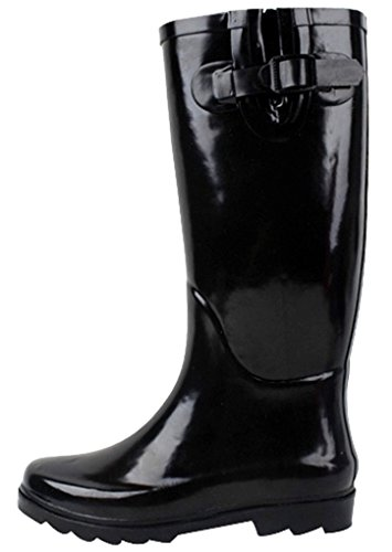 SunVille Women's Ditsy Dots Rubber Rainboot and GardenBoot,7 B(M) US,solid green