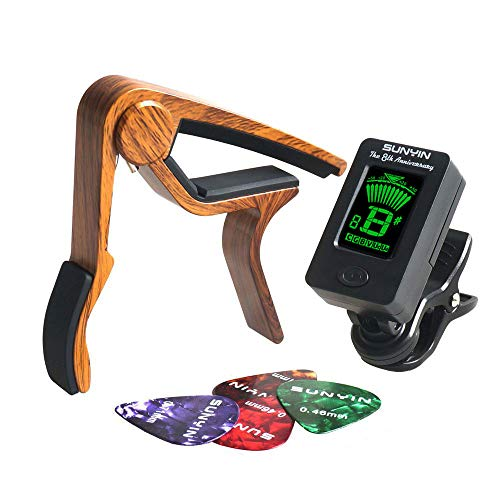 SUNYIN Guitar Tuner and Capo&Picks,Clip-on Digital Tuner For Acoutisc Guitar,Bass,Violin,Ukulele&Chromatic Tuning instrument