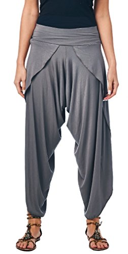 - Popana Women's Casual Summer Boho Harem Jogger Pants Gaucho Culottes Made in USA Small Slate