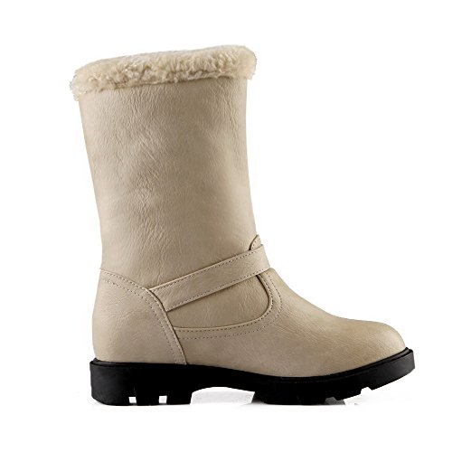 Pull Toe Kitten on Soft AgooLar Round Material Low Heels Women's top Beige Closed Boots 8wtwAq0