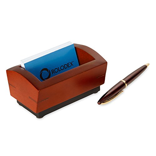 cheap Rolodex Executive Wood Line II Business Card Holder, 100-card, Mahogany (19386)