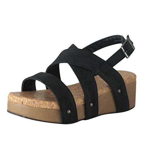 ✔ Hypothesis_X ☎ Women's Adjustable Ankle Strap Wedge Comfort Sandal Open Toe Summer Cork Flatform Sandal Black