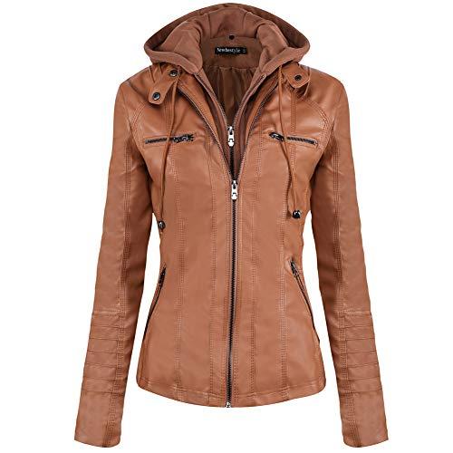 Newbestyle Women's Faux Leather Moto Biker Jacket Removable Hoodie Zipper Coat Brown
