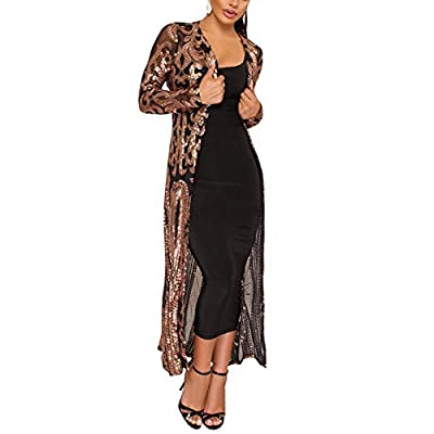 PROMLINK Women's Sequins Open Front Long Sleeve Club Cardigan for Evening Prom