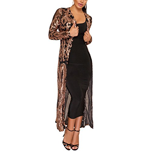 (PROMLINK Sequin Cardigans for Women Long Sleeve Open Front Club Dress Coat Black)