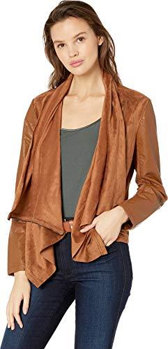 Blank NYC Women's Faux Suede Drape Front Jacket in Coffe Bean Coffe Bean Small