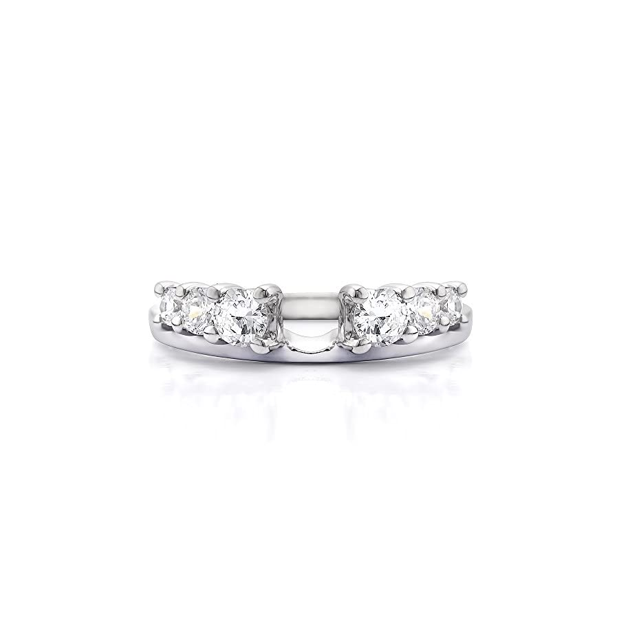 Diamond Double Shared Prong Six Stone Ring Wrap 14K Gold GH I2I3(1Ct) Size 3 To 15 in 1/4 Size Interval