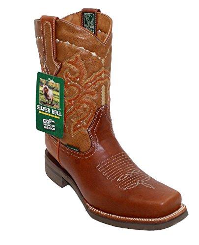 Hommes En Cuir Véritable Cowboy Rodéo Bottes Western Tan