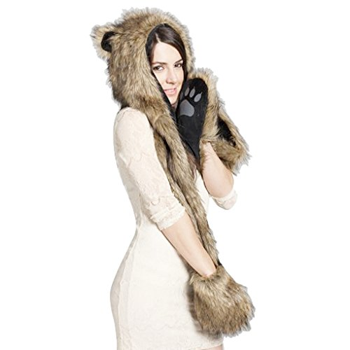 Women 3 in 1 Animal Hoodie Faux Fur Cosplay Hat Fluffy Plush Hood Scarf (Eskimo Faux Fur)