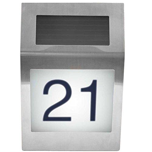 Design Solar Hausnummer Hausnummernleuchte Haus Nummer mit LED Beleuchtung aus Edelstahl