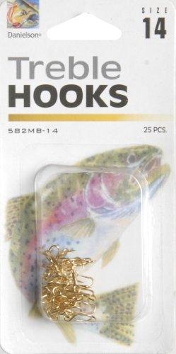 Danielson Treble MB Hook, Gold, Size 14 (Gold Hooks Treble)