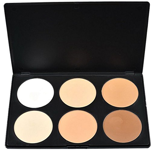 RoseFlower Pro 6 Colours Large Face Press Powder Foundation Concealer Camouflage Makeup Palette Cosemetic Contouring Kit #1 - Ideal for Professional and Daily Use