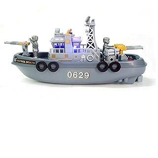 HKJYC Children Electric sea Ship Electric Model sea Patrol Boat Music/Light/Water Spray