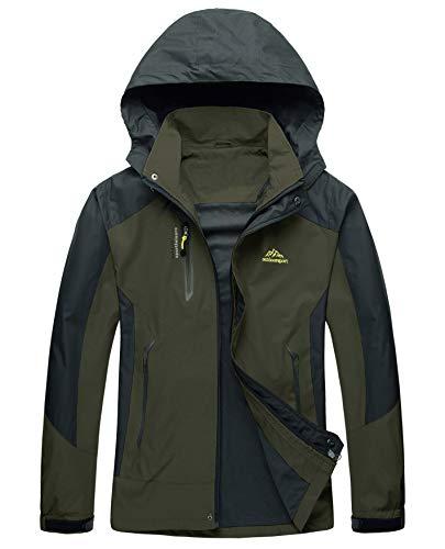 (LASIUMIAT Men's Mountain Waterproof Ski Jacket Windproof Rain Jacket Softshell Outdoor Sportswear Dark Green)