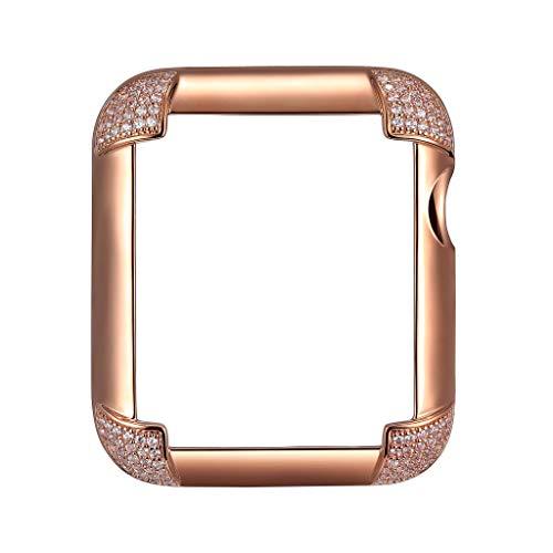 SkyB 14K Rose Gold Plated Jewelry-Style Apple Watch Case with Swarovski Zirconia CZ Pavé Corners - Large (Fits 42mm iWatch) ()