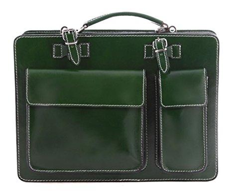 Porta Pelle verde Borsa modello Vera Made in 38x27x10 Superflybags Classic documenti Cartella Italy XL xnE6qXUX