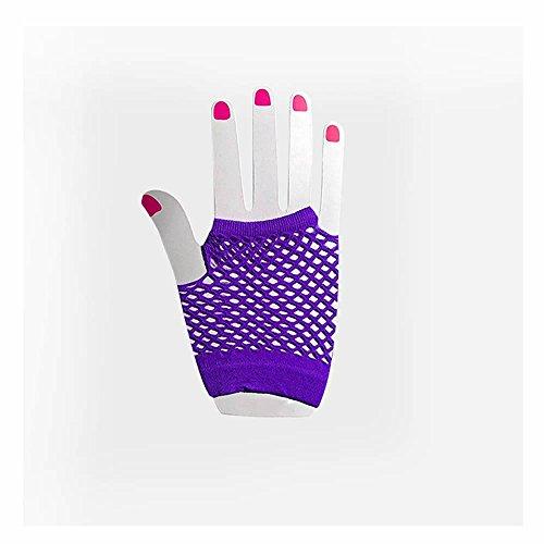 [GOOTRADES Women's Wrist Length Fingerless Fishnet Mesh Gloves (Purple)] (Purple Wrist Length Fishnet Gloves)