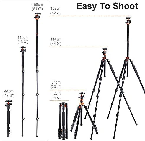 Okay&F Concept SA254M1 62'' DSLR Camera Tripod Lightweight and Compact Aluminum Detachable Monopod Tripod with 360 Panorama Ball Head Quick Release Plate for Travel and Work