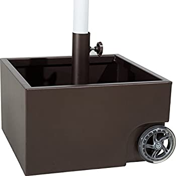 Abba Patio 30lbs Stainless Steel Sand Filled Square Umbrella Base/Planter  With Two Wheels