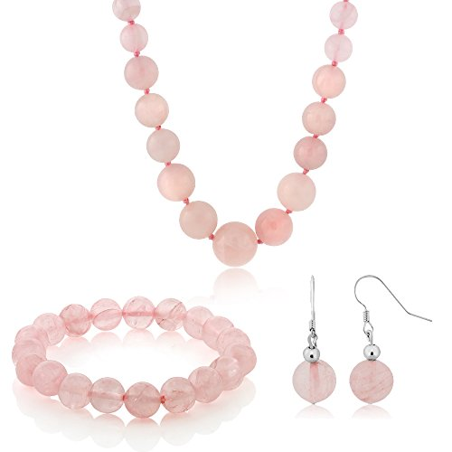 Gem Stone King 10MM Simulated Rose Quartz Round Bead Necklace Bracelet and Earrings Set 20 Inch
