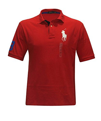 Red Big Pony - Polo Ralph Lauren Men's Classic Fit Mesh RED BIG pony Shirt BIG & TALL (LT)