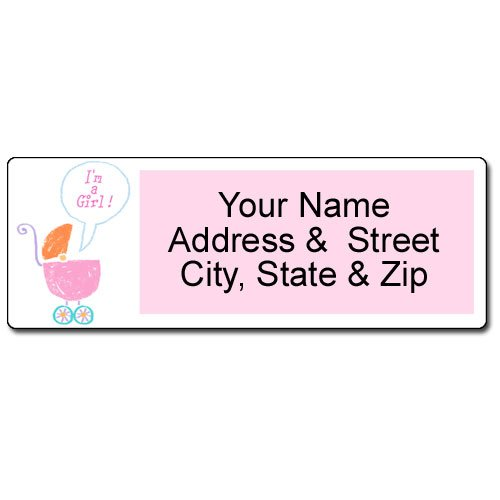 It's a Girl Address Label - Customized Baby Return Address Label - 90 Labels