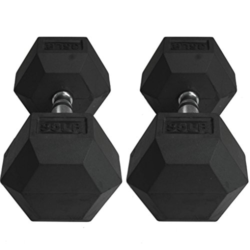 Pair 35 lb Black Rubber Coated Hex Dumbbells Weight Training Set 70 lb Fitness by Titan Fitness (Image #4)'