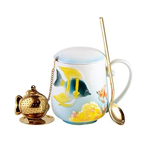 (YOLIFE Ceramic Tropical Fish Tea Cup Embossed Mug 3D Gold Fish Insufer Tea Spoon Gift Packaged)