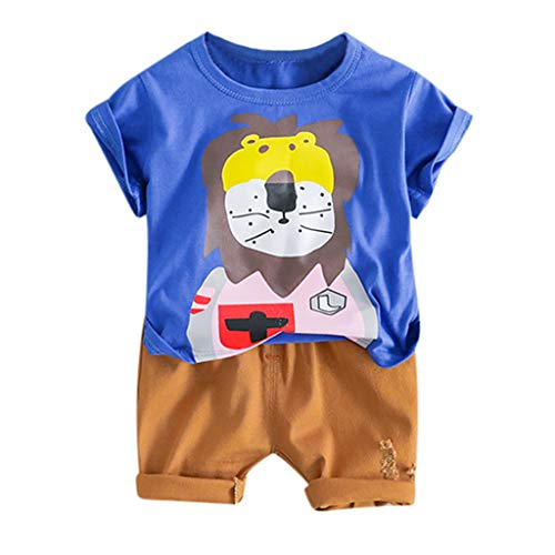 Summer Clothes Set for Toddler Baby Kids Boy Cartoon Lion Print Tops T-Shirt + Solid Short Pants Casual Outfits(6M-24M) Blue -