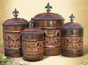 4 Piece Versailles Canister Set with Fresh Seal - Tuscan Old Iron