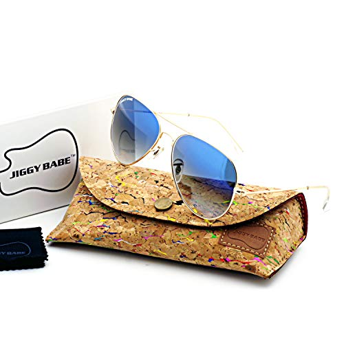 a1998440b53 Amazon.com  Top Brand Name Sunglasses Gradient Glass Aviator 3025 Large  Metal (Gold Blue)  Clothing