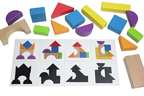Silhouettes Early Learning Game (Wooden Block Patterns - Create Patterns and Silhouettes with Colorful Organic Building Blocks Toy)
