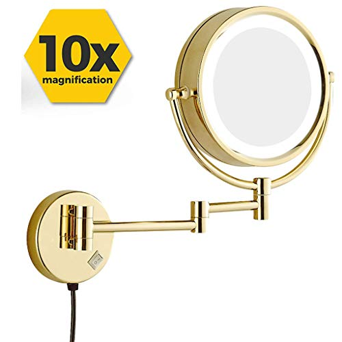 BWBW LED Makeup Mirror Wall Mount 10x Magnification, 360°Swivel 12