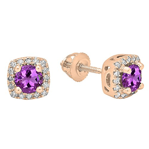 Dazzlingrock Collection 18K Each 4 MM Round Amethyst & White Diamond Ladies Halo Stud Earrings, Rose Gold
