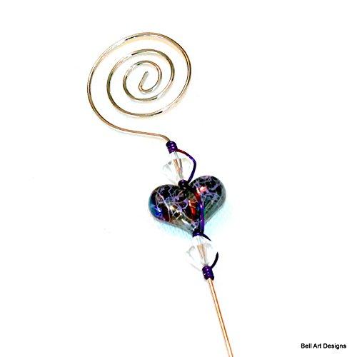 Purple Foil Heart Beaded Cake Tester, Silver Swirl, Bell Art Designs, (Foil Bicone)