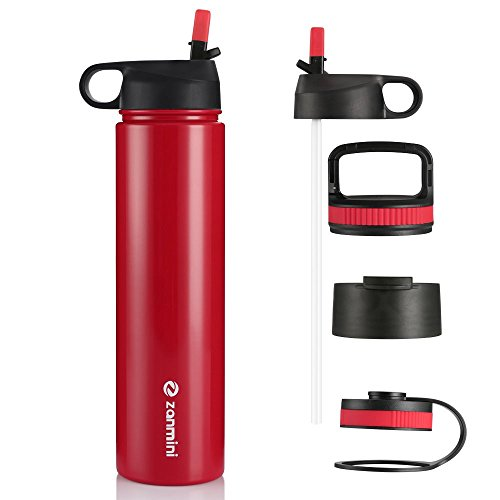 zanmini Stainless Steel Sport Bottle, Double-Wall Vacuum Insulated Water Bottle with 4 Interchangeable Lid, Wide Mouth Travel Mug Thermos for Gym, Racing, Outdoor, Car(Red ()