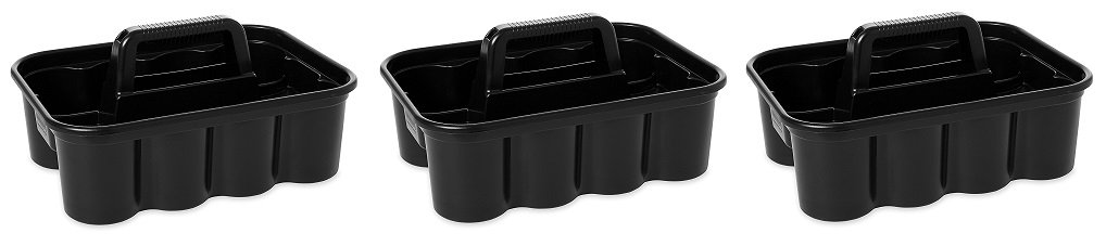 Rubbermaid Commercial Deluxe Carry Cleaning Caddy, Black (3 X CARRY CLEANING CADDY)