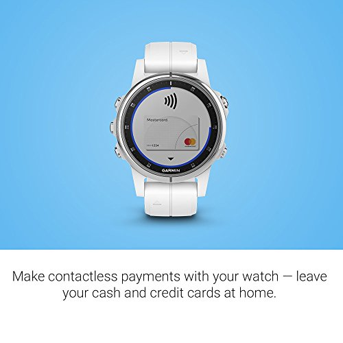 Garmin fenix 5S Plus, Smaller-Sized Multisport GPS Smartwatch, Features Color Topo Maps, Heart Rate Monitoring, Music and Contactless Payment, White/Silver