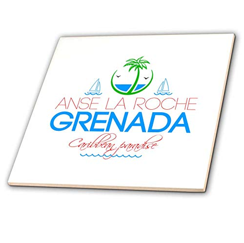 (3dRose Alexis Design - Caribbean Beaches - ANSE La Roche Grenada Caribbean Paradise Text and Images - 8 Inch Glass Tile (ct_303784_7))