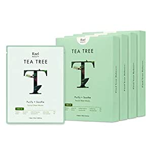 Rael Bamboo Face Sheet Mask - Natural Facial Mask with Tea Tree Oil and Cica Extract for All Skin Types, Vegan and Botanical Ingredients, Acne Blemish Skin (Tea Tree, 20 Sheets)