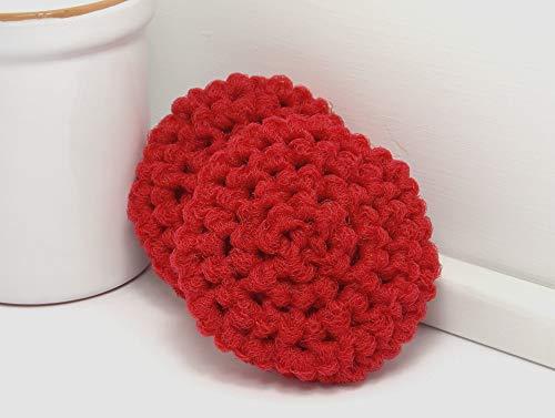 (Red Reusable Crochet Dish Scrubbies Set of 2, Zero Waste Kitchen)