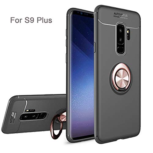 Newseego Compatible Samsung S9 Plus Case,360° Adjustable Ring Stand,Frosting Thin Soft Protective and Finger Ring Holder Kickstand Fit Magnetic Car Mount for Samsung S9 Plus-Black+Rose Gold