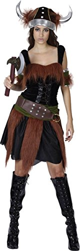 [Halloween Medieval Fancy Dress Party Ladies Viking Lady Warrior Complete Outfit] (Viking Outfits For Adults)