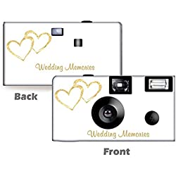 5 Pack Gold Hearts Wedding Disposable Camera, Wedding Camera, Anniversary Camera, from CustomCameraCollection WM-50349-C