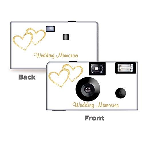 5 Pack Gold Hearts Wedding Disposable Camera, Wedding